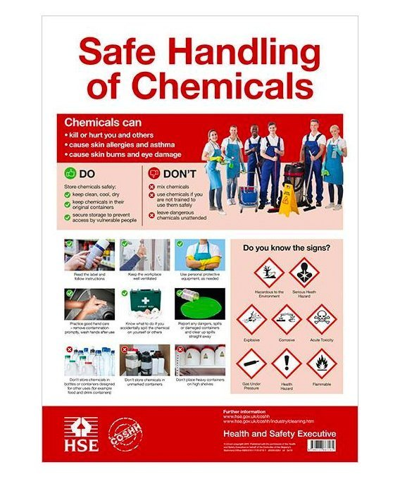 Coshh Cleaning Chemicals Poster Cip Books